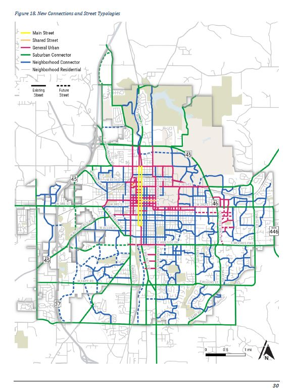 Street map of Bloomington with proposed street typologies