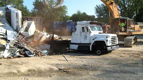 BPD's old armored vehicle was destroyed via dismantling at an automobile reclamation yard.