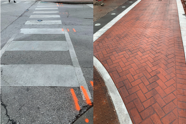 Before and After of Kirkwood Crosswalk
